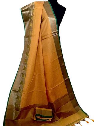 Gorgeous Yellow Kota Silk Saree
