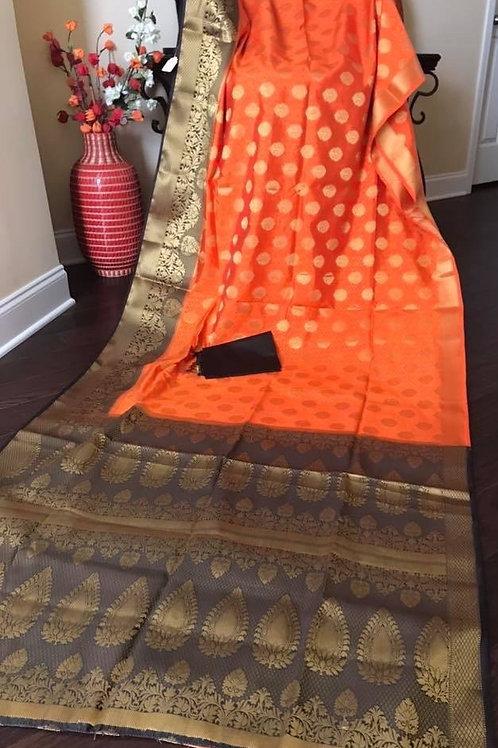 Black Orange Kanjivaram Paithani Silk Saree