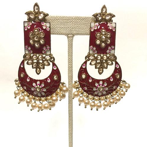 Kundan Red Earring