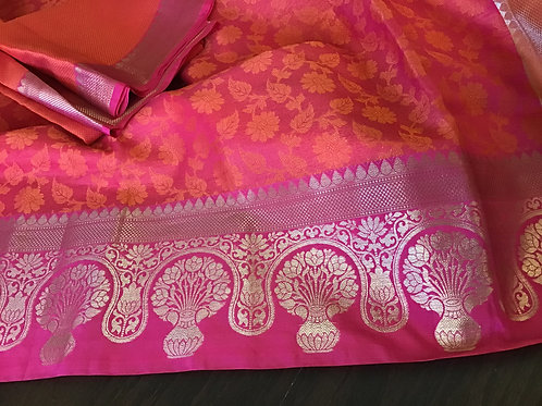 Pretty Pink Kota Silk Saree