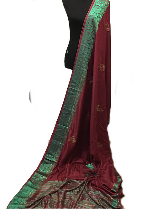Synthetic Silk Maroon and Green Saree