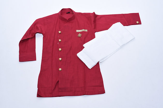 Kids Red Kurta Pajama Set