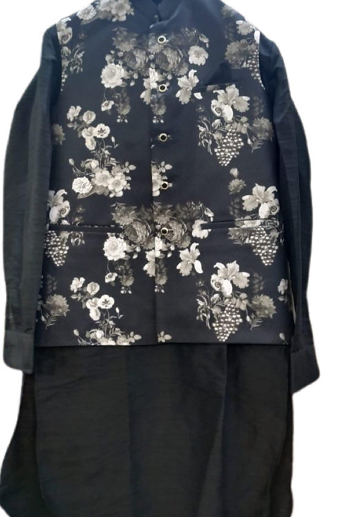 Elegant Black Kurta Pajama With Jacket