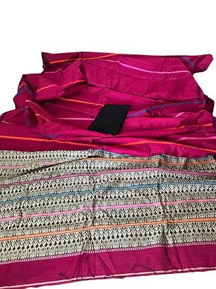 Classic Handloom Matka Baluchari pink Saree