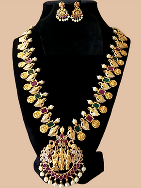 Beautiful Long Haram Ram Pariwar Necklace Set