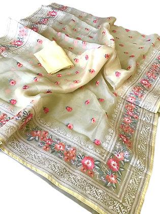 Outstanding Yellow Pure Organza Silk Parsi Work Saree