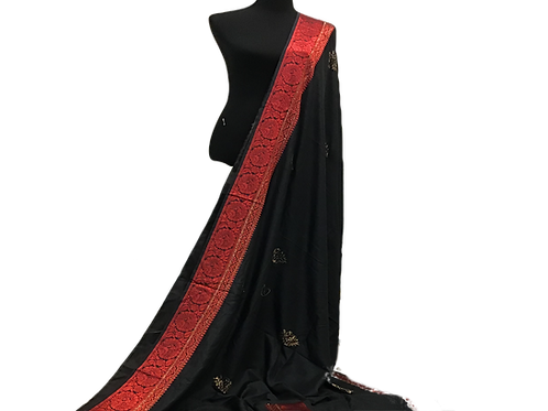 Synthetic Silk Black Red Saree