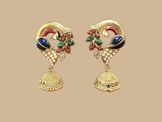 Peacock Jhumka Earring