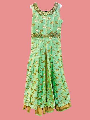 Attractive Green Golden Flare Gown