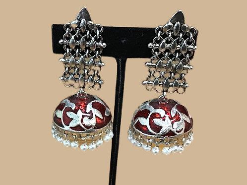Oxidized German Silver Red Jhumka earring