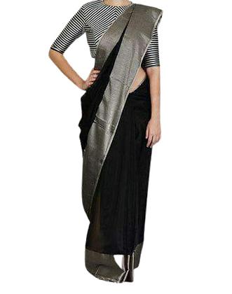Evergreen  Black Linen Saree