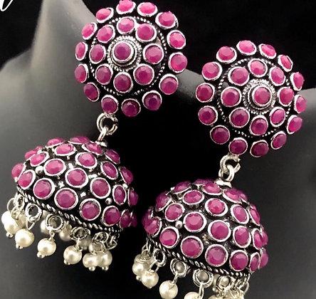 Pink German silver Jhumka