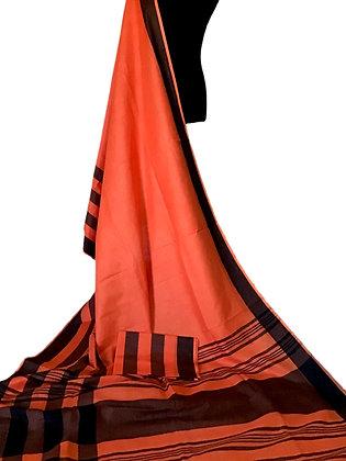 Pretty Orange Linen Saree