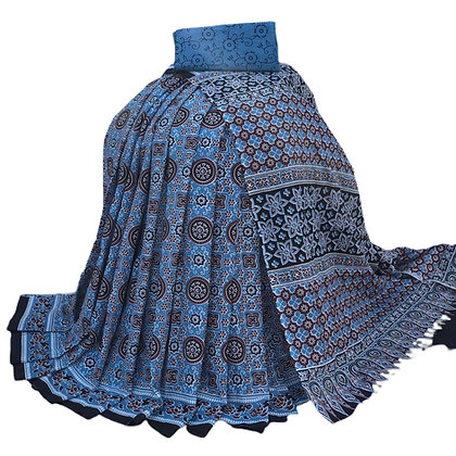 Blue Bagru print Cotton mulmul Saree
