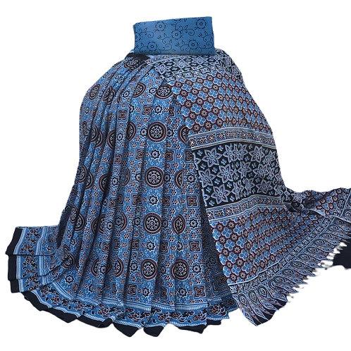 Blue Bagru print Cotton mulmul Saree