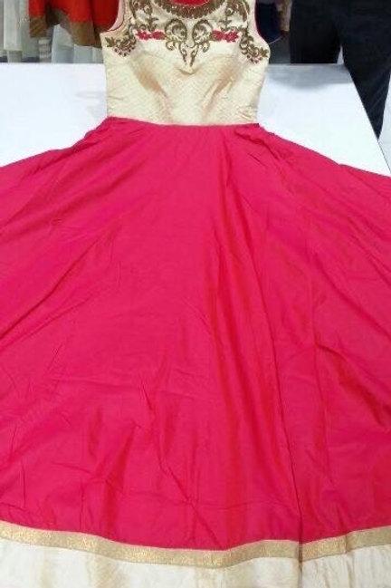 Cream Red Salwar Suit