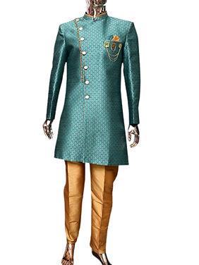 Amazing Turquoise Indo-Western Sherwani for Men