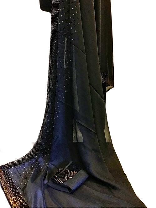 Georgette Silk Black Saree