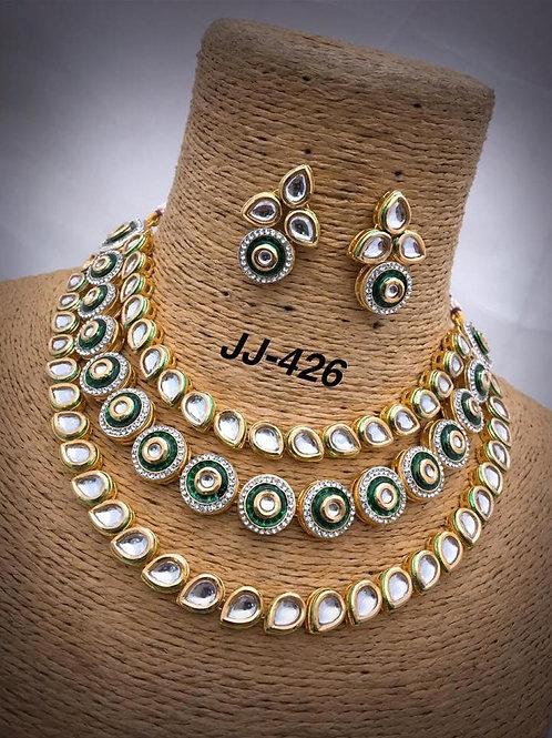 Kundan Three Layer Choker Necklace