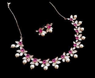 Pink Kundan pearl  Necklace Set