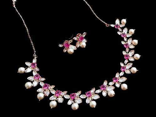 Pink Kundan pearl  Necklace Set