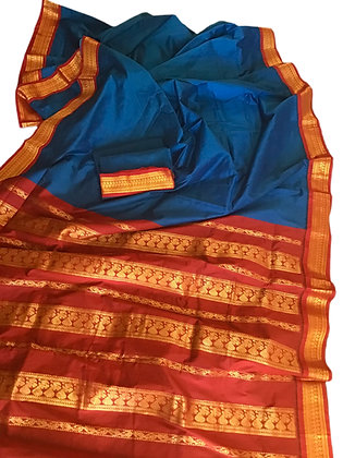 Blue Red Godwal Handloom Cotton Silk Saree