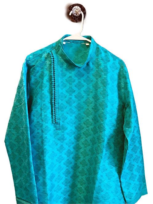 Alluring Green Cream Kurta Pajama
