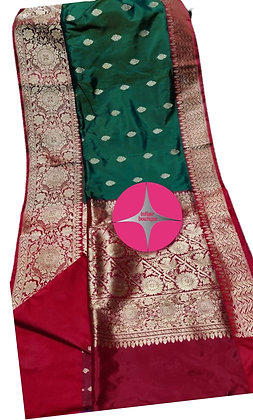 Evergreen Color combination Green Red Pure Katan Banarasi Silk Saree