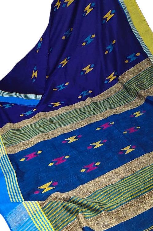 Beautiful Blue Handloom Cotton Saree