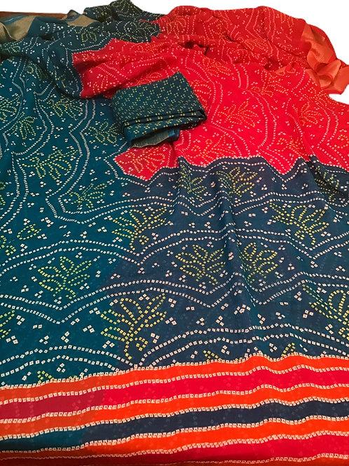 Pretty Chiffon Red and Blue Bandhani Saree