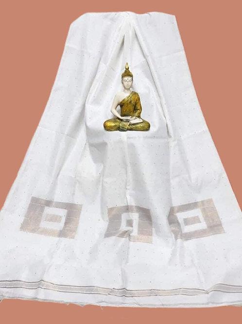 White Cotton Silk Sequins Saree