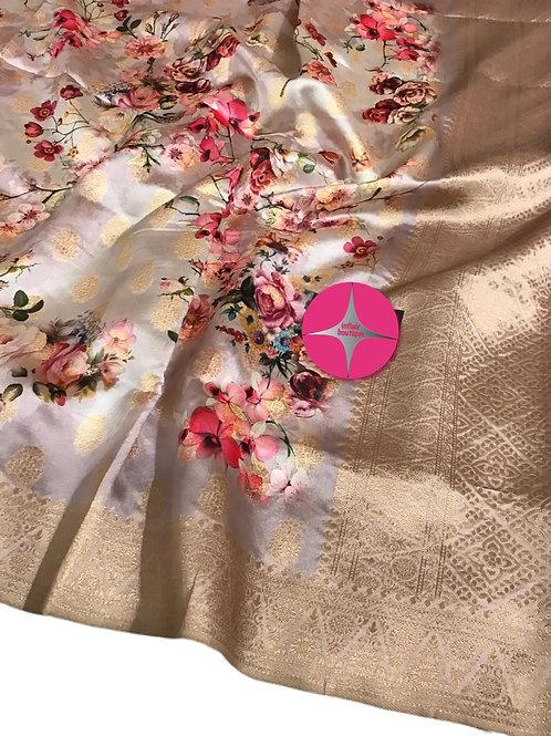 Gorgeous Raw Silk Digital Floral Print Saree