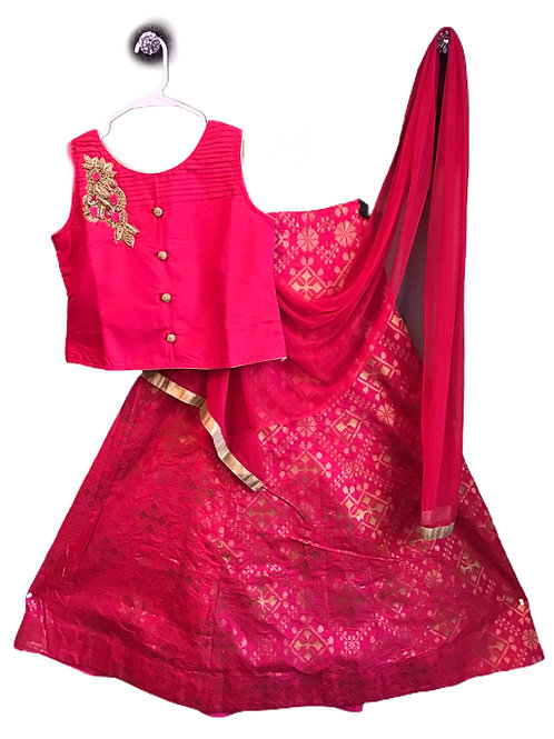 Girls Lehanga Choli In Red