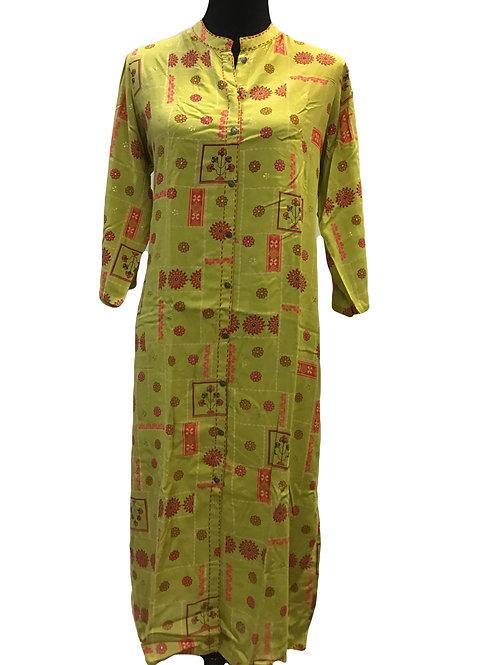Rayon Green Printed Kurti
