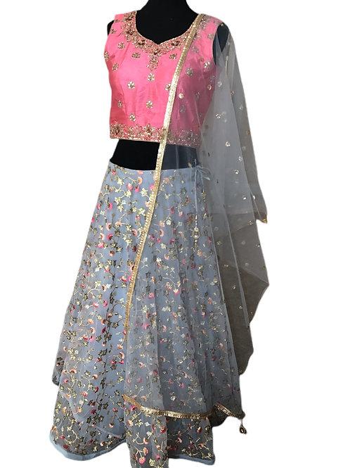 Beautiful Pink Blue Greyish Lehanga Choli