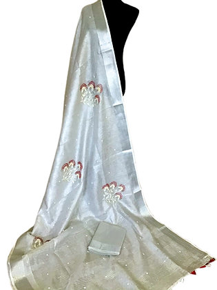 Gorgeous Silver Beads Embroidered Tissue Linen
