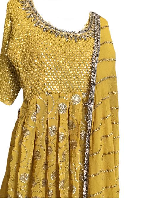 Stunning Yellow Lehanga with Long Top