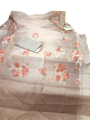 Beautiful Organza Silk Floral Print Saree