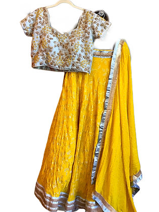 Gorgeous Yellow light Blue Lehanga Choli