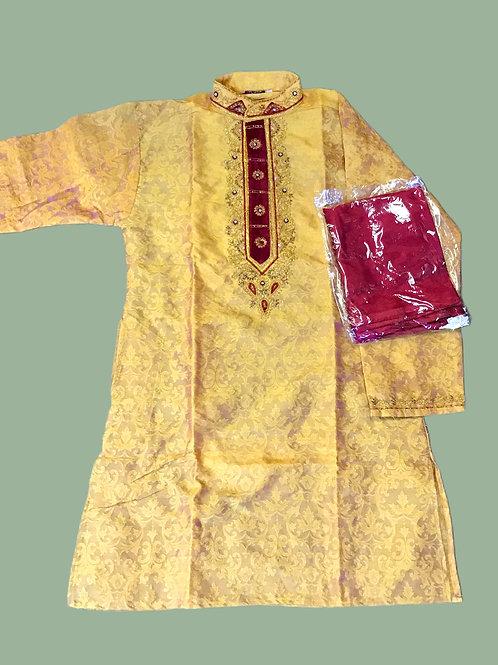 Yellow Silk Woven Kurta Set