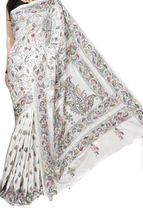 White Kantha stitch Saree