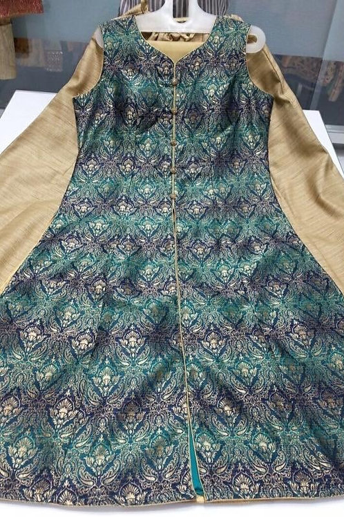 Blue Green Skirt Suit