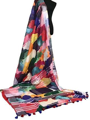 Gorgeous Multicolor Linen Silk Saree