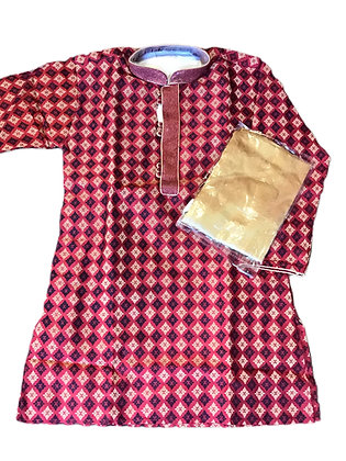 Art Silk Woven Red Kurta Set