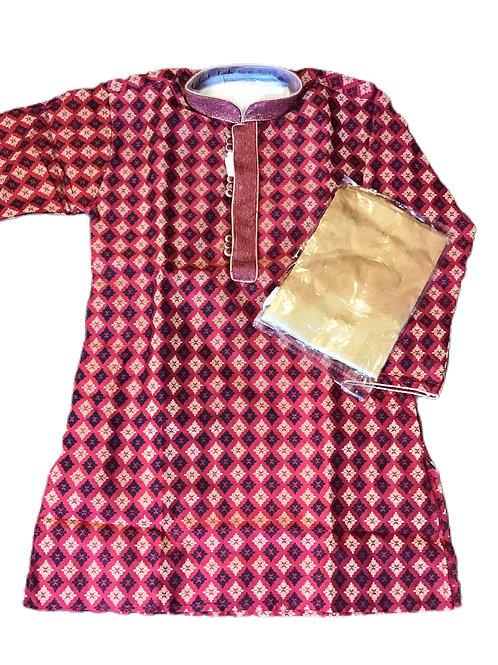 Art Silk Woven Red Kurta Set