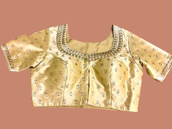Golden Silk Blouse with embroidery