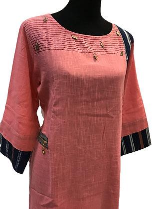 Cotton Linen Blush Pink Kurti