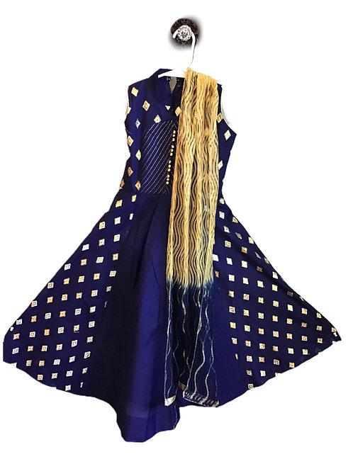 Blue Cotton Silk Abaya Style Suit