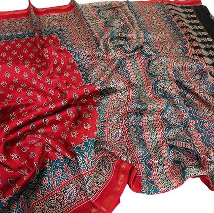 Red Chanderi Cotton Silk Saree with Ajrakh Print