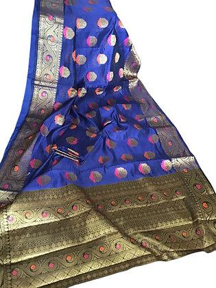 Pleasant Blue Matka Silk Saree